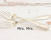 Rainbow Wedding Mrs. Mrs. Forks, Same Sex Marriage Floral Wedding Forks, 1950's Recycled Flatware -