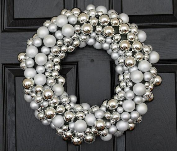 ESPECIALLY MADE for SHAMEKA ~ Silver Bells Christmas Holiday Wreath, Christmas Wreath for Door, Silver Holiday Wreath, Christmas Wreath