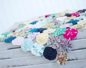 Mini Yo Yo Quilt Layer Hand Sewn Spring Florals Pink Mint Blue Green White Navy Photography Prop  Custom Made by Bliss Studios