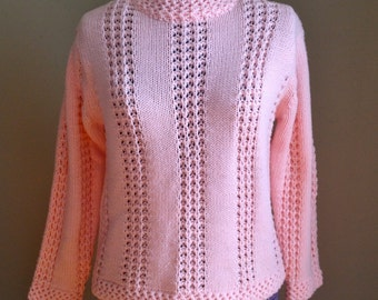 Vintage 1950s 60s Pink Knit Sweater - 36 - Medium