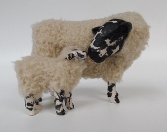 """Welsh Beulah Speckled Face Sheep Figure Nose to Nose with Lamb, 5"""""""
