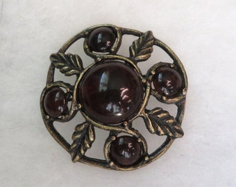 Fab fall vintage brooch pin Antiqued gold with luscious brown stones