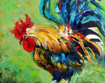 Fine Art Print Rooster made from image of oil painting by Karen Tarlton - Bad Barnyard Bird in Blue
