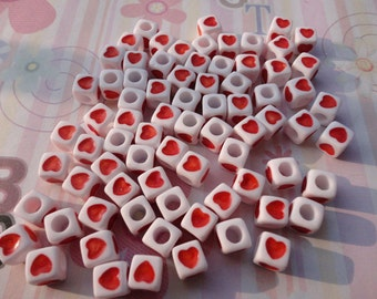 Wholesale 50pcs 7mmx7mm white Acrylic Beads with red heart with 3mm Hole