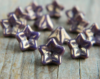 Glass flower beads, Czech glass beads, Glass 5-petal Trumpet Flower beads, 6X9mm, Opaque Lilac with Metallic Amethyst/ Bronze Finish (12pcs)