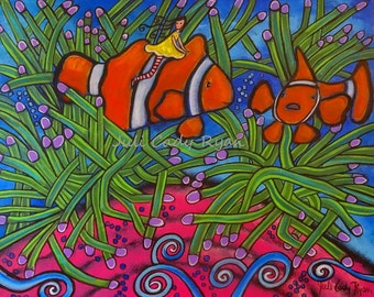 Whimsical Seascape Girl and Clown Fish 20 x 16