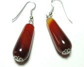 Red Agate Teardrop Gemstone Earrings in Sterling