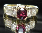 Ruby Ring Engagement Ring Ruby and Diamond Engagement Ring Ruby and Diamond Ring Wedding Ring Cocktail Ring 18k Gold with 60pt tw Diamonds