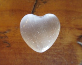 White Selenite Gemstone Heart