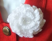 White Large Crochet Flower Brooch, Pin, Corsage, Gift