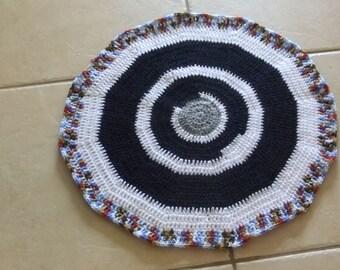 Multicolor Crochet mat, rug, pet bed, blanket, round throw, circle blanket