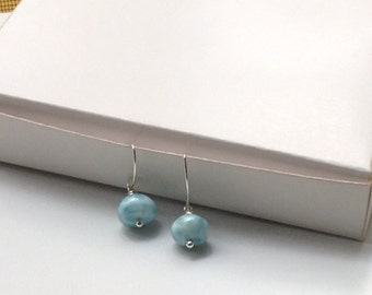 Larimar dangle earrings rondelle beads FAll fashion jewelry gifts for her turquoise jewelry