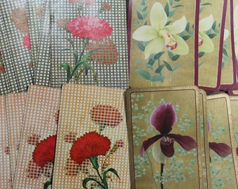 Vintage Playing Cards retro 40's Floral gold screened orchids flowers red gold floral illustration paper ephemera scrapbooking supplies 12pc