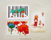 Set of 3 Human Flower Postcard Set - Postcard Collection - Illustration Postcard