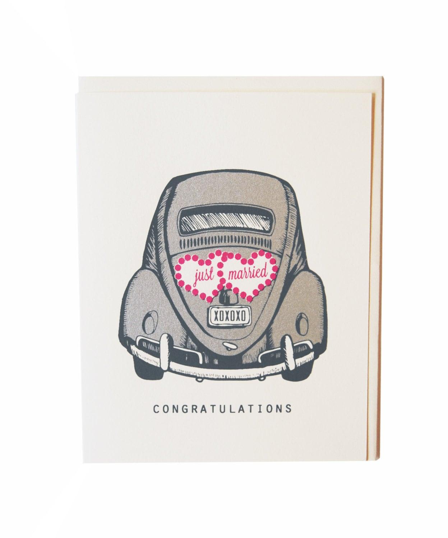 Hochzeit Karte Just Married Auto von FlakesPaperie auf Etsy