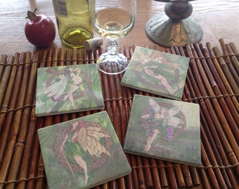 Set of 4 Celtic  Faerie Coasters,  Rowan, Heather, Apple, and Oak