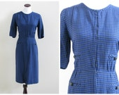 Vintage 1950's dress/ 50's Manford blue and black gingham checkered wiggle / 32 waist