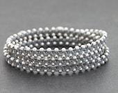 Grey Silver Stud Wrap Beaded Bracelet