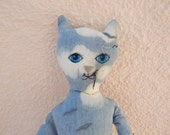 OOAK Cloudy Cat-  Plush Toy Animal , Hand-Stitched, Rag Doll,Softie, cute kitten,Fabric Doll,stuffed, softie