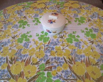 Vintage Kitchen Tablecloth,Cotton Terry,  Bold all over Floral Pattern in Yellow, Lime Green, Blue, Brown, 52 x 70, Farmhouse Kitchen