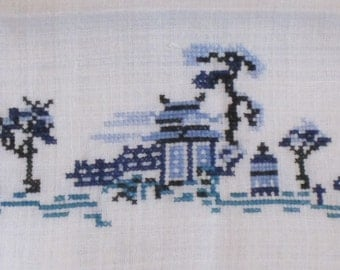 Vintage  Linen Guest Towel with Cross Stitched Design - Asian Buildings