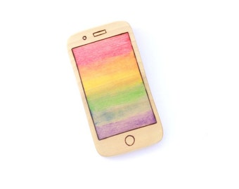wooden cellphone toy, wooden waldorf toy, toy iPhone, pretend cellphone, rainbow phone