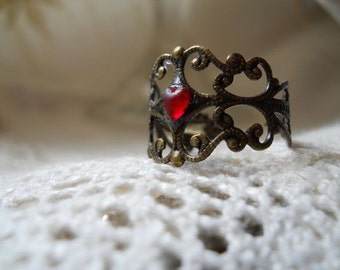 Adjustable Brass Filigree Ring with Red Heart SRAJD