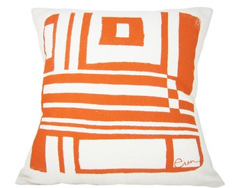Bold Geo 20in Pillow in Mango Orange
