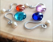 smooth glass marbles freshwater pearls on silver - silver swirl wine glass charms