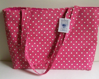 Hot Neon Pink Polka Dot Large Tote Bag for Market Ready to Ship