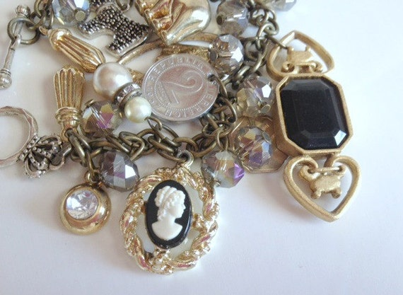 Vintage Charm Bracelet Eclectic Mix Found Charms Religious Medals