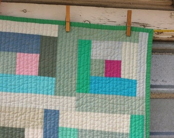 Hand Dyed Log Cabin Quilt