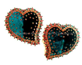 Pasties - Velvet, Czeck Crystal and Holographic Sequins