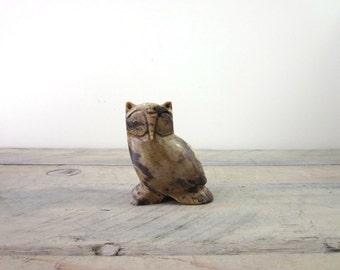 Vintage Carved Stone Owl Figurine