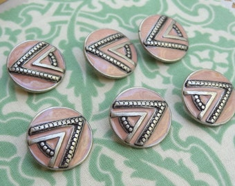 "6 Vintage Cast Pewter Shank Buttons. 7/8"" (20mm) button. Pink and SIlver Retro Design Button. B21"