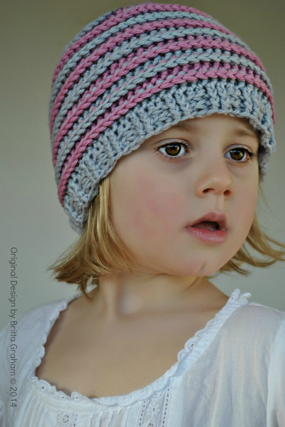 crochet hat pattern unisex ribbed beanie P306 using Double ...