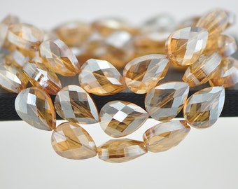 38pcs Teardrop Faceted Crystal Glass Beads 18mm Gold Champagne -(TS65-3)