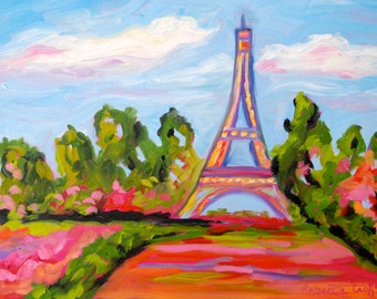 Print of Spring in Paris of Original Painting by Rebecca Croft - Many Sizes