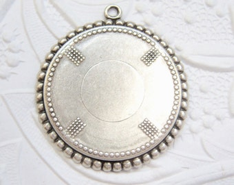 2 - Antique silver plated 25mm round beaded edge setting - SS266
