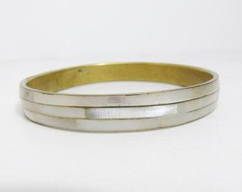 Vintage Bracelet: Mother of Pearl and Brass Bangle