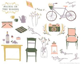 Flower Rustic Wedding Clipart Picnic Woods Clip Art Hand Drawn Bike Louis Chair Food Kite Floral Camera Botanical Tea Coffee Kettle Vintage