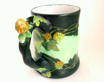 J P Limoges France Stein Hand Painted Green Floral, Artist Signed, 24oz.//Vintage Serveware//Barware//Vintage Collectibles//Antique Stein