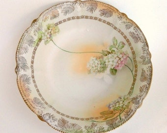 Vintage RPM Germany Serving Bowl HP Hydrangeas Cream Satin Finish/Vintage  China