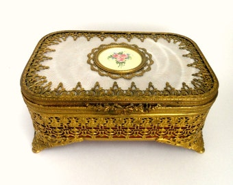 Large Gold Ormolu Hinged Casket Jewelry Box with Lift Out Red Velvet Tray// Rare Antique Gold Filigree Trinket Box
