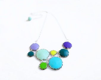Blue Green Statement Necklace, Bib Necklace in Mint, Teal, Purple, Yellow, Green - Color Dot Collection - Handmade Polymer Clay Necklace