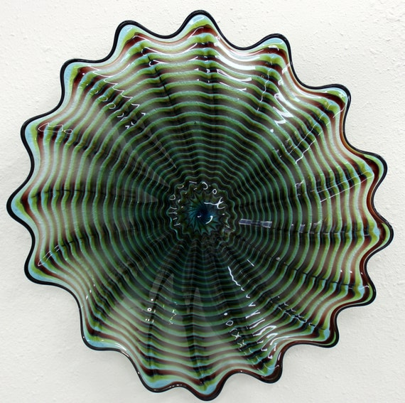 beautiful hand blown glass art wall platter spiral by. Black Bedroom Furniture Sets. Home Design Ideas