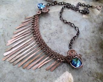 blue cystal tassel necklace in copper