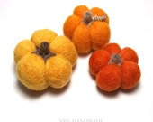 Pumpkin Harvest Set of 3 Felted Pumpkins,orange,cream,gourd,autumn decor, halloween,fall,thanksgiving,ornaments
