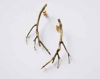 gift for her branch jewelry bronze twig earrings - branch earrings - gold plated ear studs