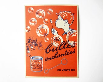 1950s French vintage advertising cardboard⎮ENCHANTED BUBBLES⎮baby kid room wall decor frame